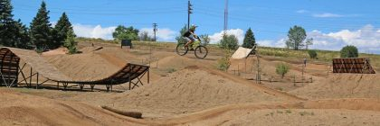 A biker enjoying the ramps at the Ruby Hill Mountain Bike Park
