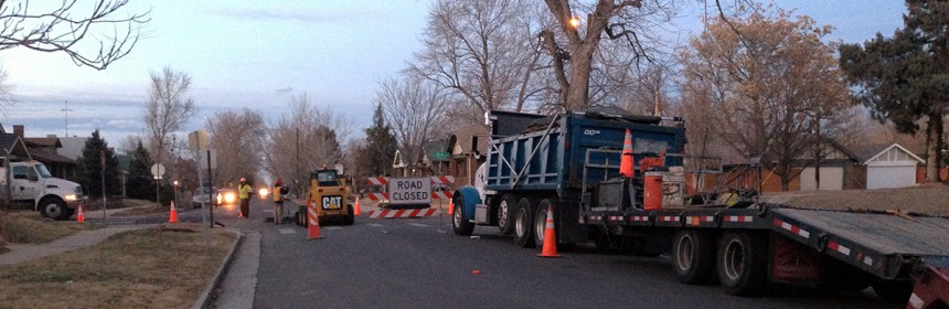 Photo of street work being done by the city of Denver