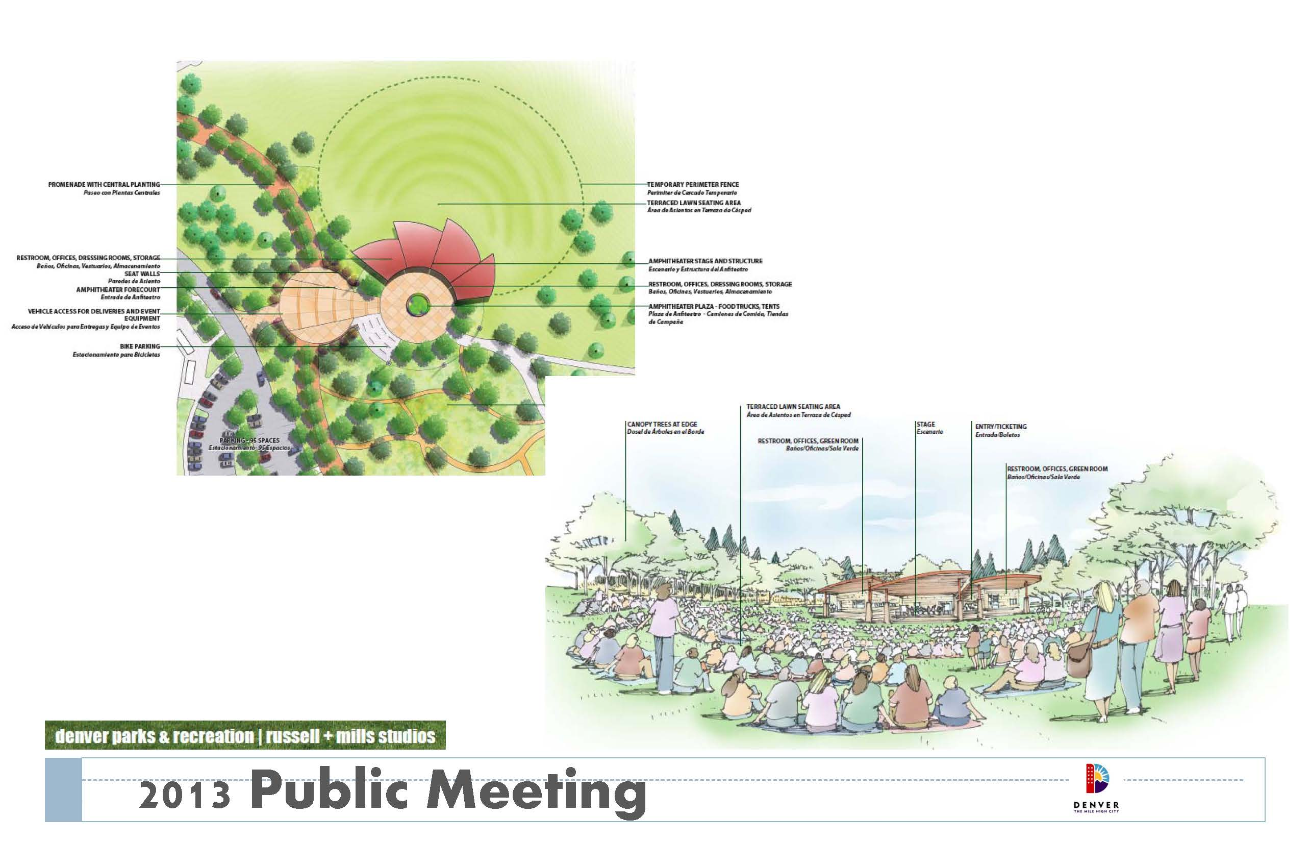 Slide from Denver Parks and Recreation presentation on the Levitt Pavilion at Ruby Hill Park from Public Meeting #1 held January 19, 2016.