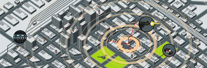 Illustration showing how ShotSpotter works. DPD will be conducting a testing of ShotSpotter.