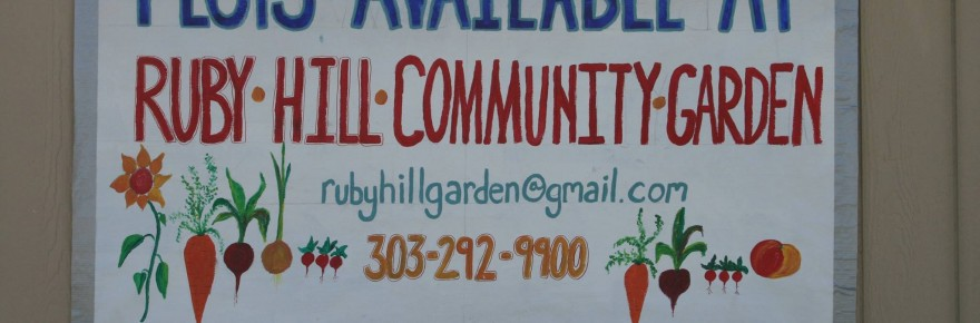 """""""Plots Available"""" sign at Ruby Hill Community Garden"""