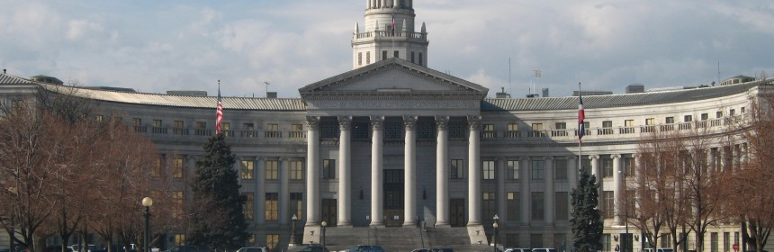 Photo of the Denver City and County Building in winter