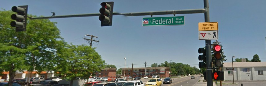 Google streetview shot of a Federal Blvd intersection in the Ruby Hill neighborhood