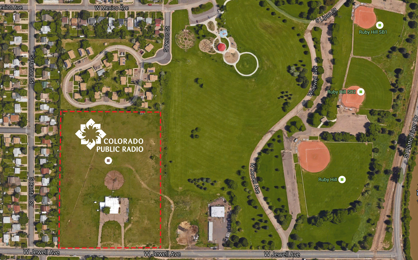 Map showing the location of the Colorado Public Radio owned land at Ruby Hill Park