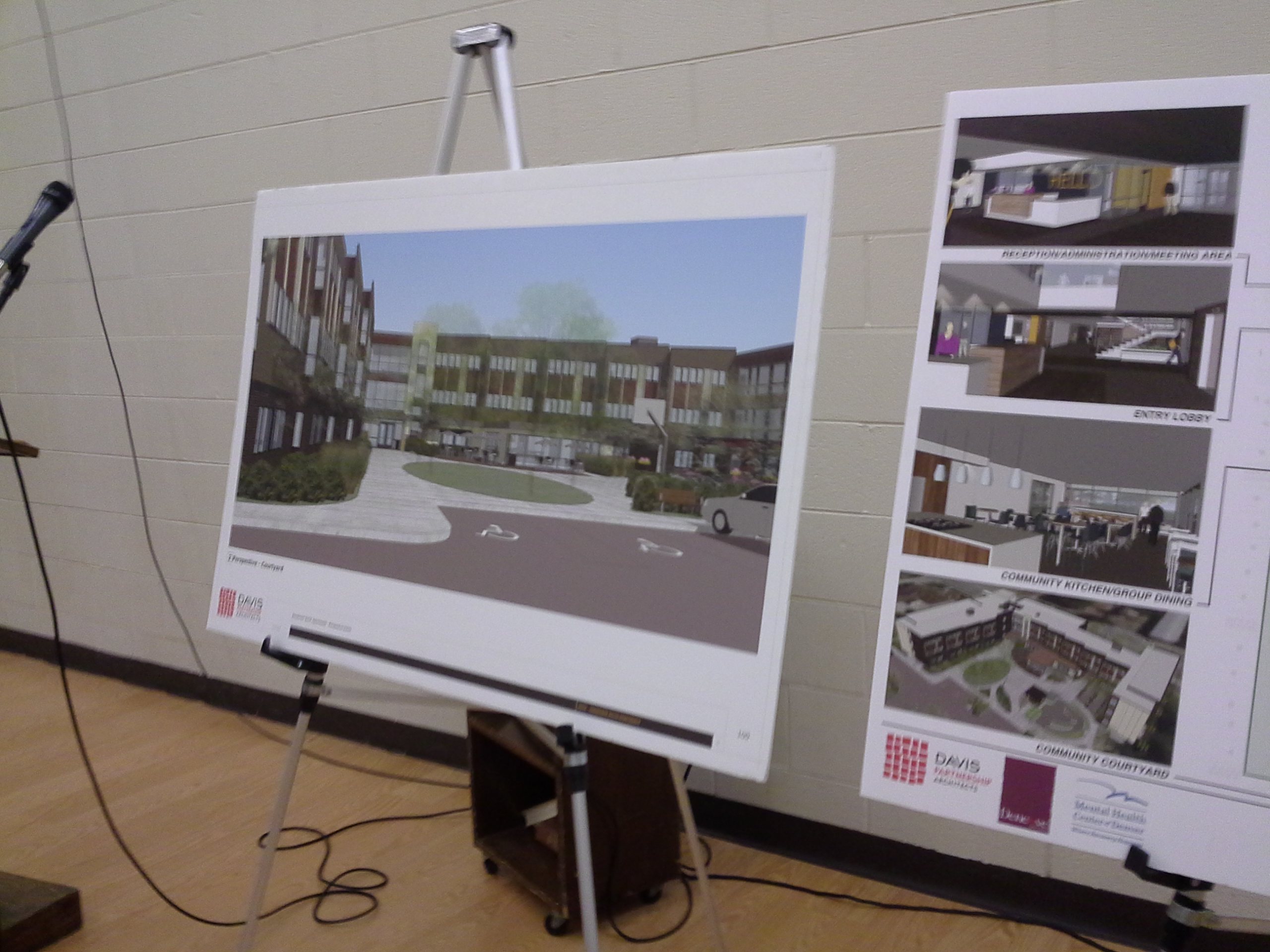 Two easels showing design renderings of the Sanderson Apartments displayed at the Ruby Hill Neighborhood Association Meeting on October 20, 2015