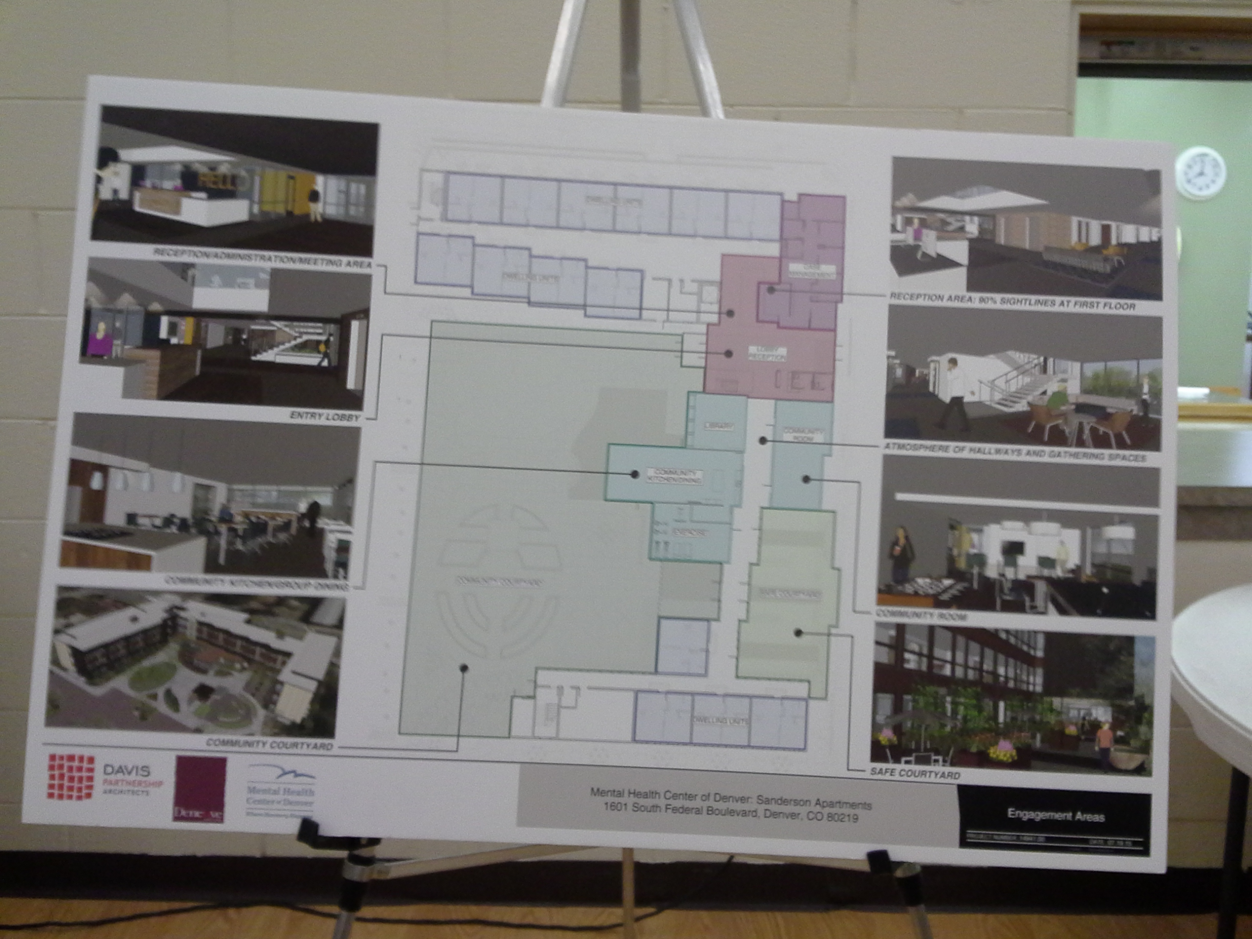 An easel showing design renderings of the Sanderson Apartments displayed at the Ruby Hill Neighborhood Association Meeting on October 20, 2015