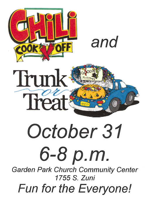 A flyer for a Trunk or Treat event at Garden Park Church