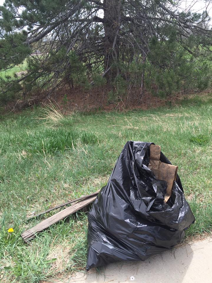 A bag of trash collected by a local volunteer during the annual Platte River Clean-Up.