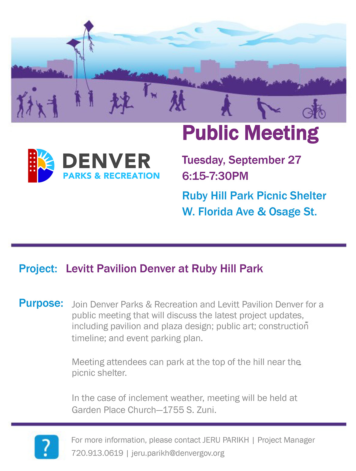 Announcement flyer for a public meeting held by Denver Parks and Rec and Levitt Pavilion at Ruby Hill Park.