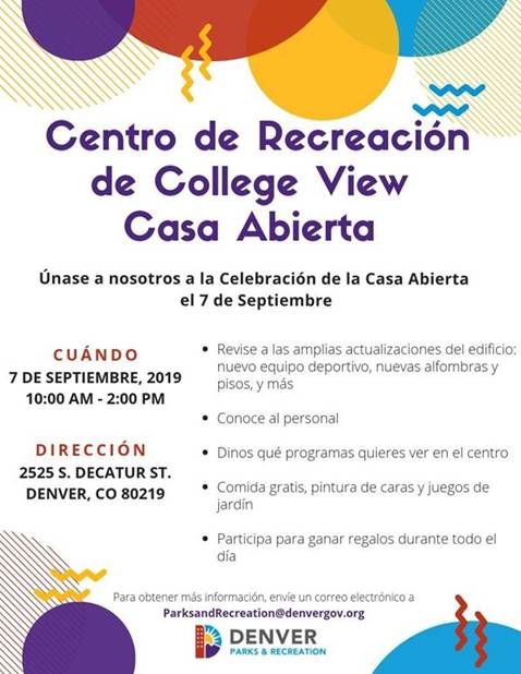 Flyer for College View Open House in Spanish