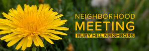 Image of announcement for neighborhood meeting